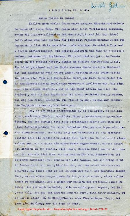 Feldpostbrief von Wilhelm Gehner, Cambrai, 26.8.1914